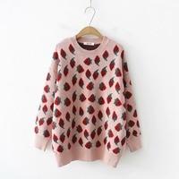 Japanese strawberry jacquard o neck long sleeve pullover Sweater mori girl