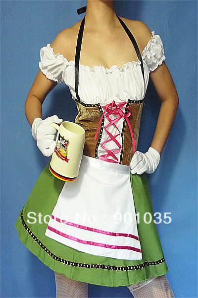 FREE SHIPPING <font><b>2013</b></font> <font><b>Sexy</b></font> German Beer Girl Outfit Maid Wench Halloween Fancy Dress Costume image