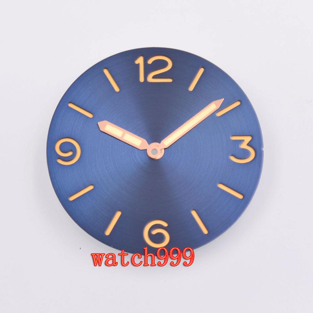 38.9mm parnis sandwich Blue Dial Rose gold hands Sterile watch dial fit ETA 6497 6498 <font><b>ST3600</b></font> movement image