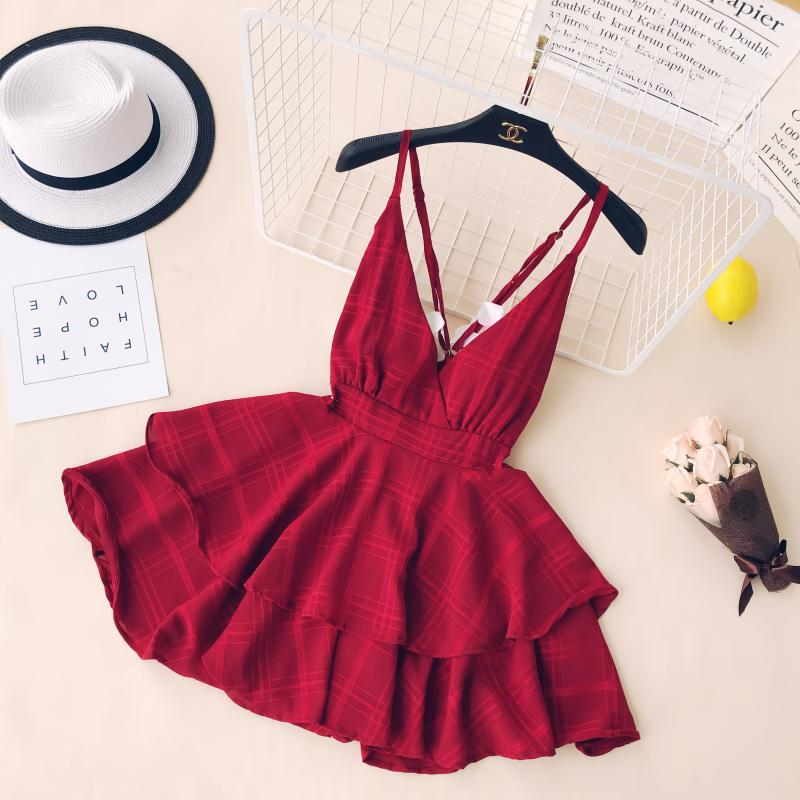 Ins Women Summer V Collar Sexy Backless Cross High Waist Slim Sleeveless Solid Color Vestidos Dress C413
