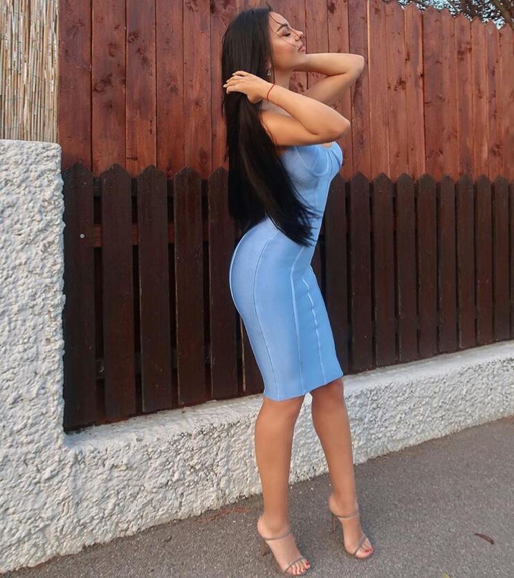 Image 3 - New Arrival Sexy Backless Blue Bandage Dress 2018  Designer Fashion Dress VestidoDresses