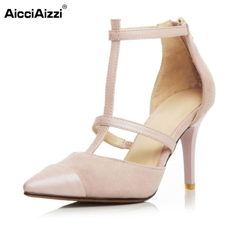 ФОТО Female Geniune Leather High Heeled Sandals Pointed Toe T-Strap Sandal Women Sexy Party Footwears Size 34-39