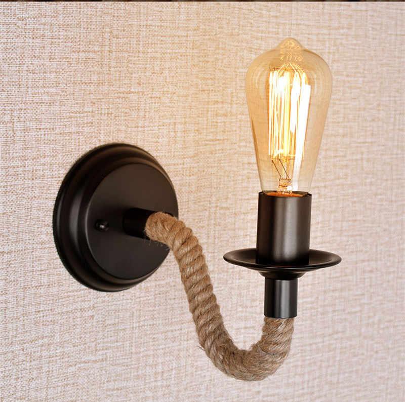 Nordic железо и конопляная веревка настенный светильник в американском ретро стиле лофт промышленный настенный Декор настенный светильник Ванная комната настенное зеркало лампы освещения светодиодный светильник