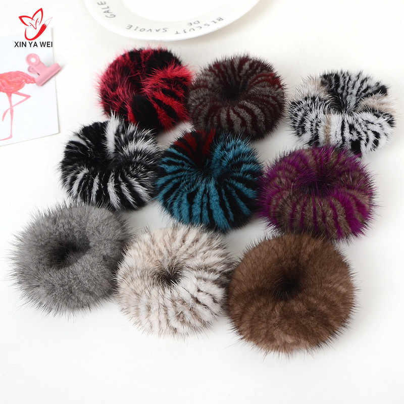 Real Lady Mink Fur Hair Scrunchies Ring Elastic Hair Bands Noble Splice Color Bobble Dance Sports Mink Fur Soft  Hairband