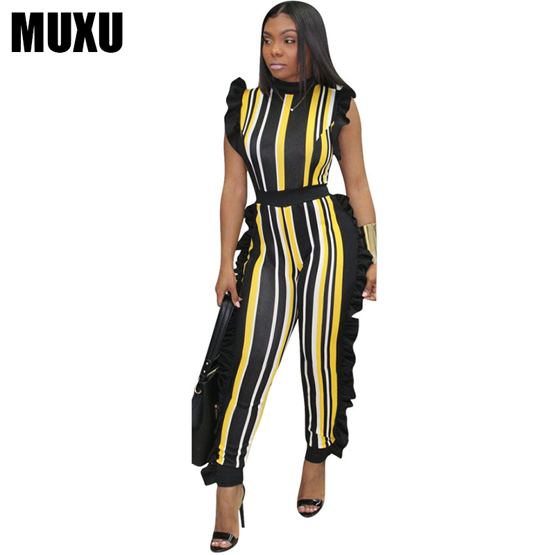 MUXU summer sleeveless patchwork tunic striped jumpsuit body feminino combinaison femme bodysuits jumpsuits plus size S-3XL 2018