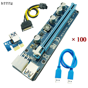 100PCS Upgrade Edition VER 008C PCI-E Riser Express Riser Card 1x to 16x Extender 6Pin Power Cable for BTC Miner Mining Machine