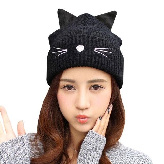 2a89e4e5c4d Autumn Winter Women S Beanies Hat Ladies Warm Skullies Cap Ear Flaps Girls  Bonnet Touca Beanie Devil Horns Cat Ear Crochet Hats
