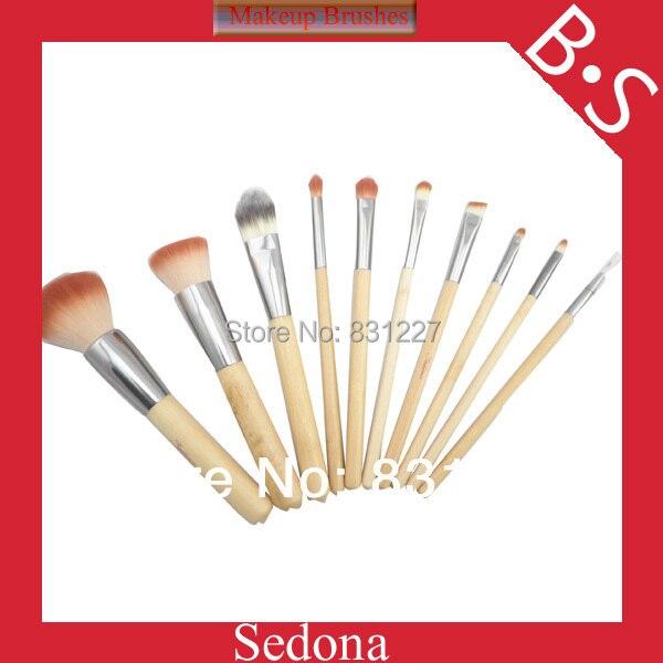 эко- дружественных 10 штук 2 тонн синтетических волос bamboo макияж щетки естественный цвет бамбука косметический набор кисть для макияжа