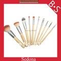 Sedona Eco 10 peças 2 tons cor cabelo sintético bambu maquiagem jogo de escova de bambu cosméticos kit escova para compo