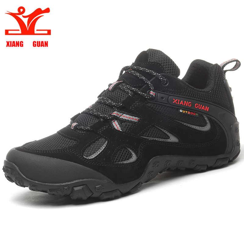 XIANG GUAN Men s Comfortable Black Outdoor Hiking Shoes Green Anti Slip Climbing Mountain Travel Sneakers