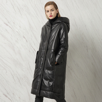 Winter Women S Genuine Leather Long Design Plus Size Down Clothing Female Sheepskin Hooded Outerwear