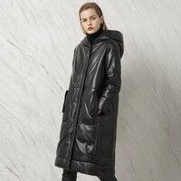 S-4XL! Inverno Più Il Formato delle Donne di pelle di Pecora Cuoio Genuino di Disegno Lungo Giù Cappotto Femminile Con Cappuccio Della Tuta Sportiva