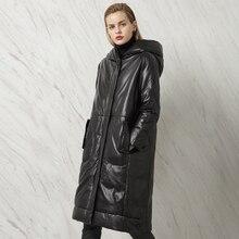 Winter Women's Genuine Leather Long Design Plus Size Down Clothing Female Sheepskin Hooded Outerwear