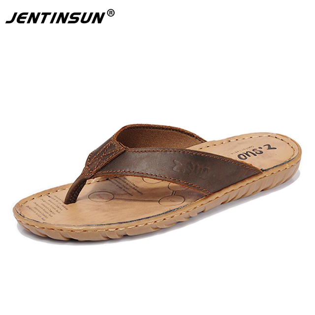 63894891d34e9 US $42.71 |Men Slippers100%Genuine Leather Slippers Male Flip Flops  Breathable Waterproof Crazy Horse Leather Beach Slippers Plus L45.46.47-in  ...