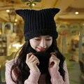 Conjuntos de inverno Little Bear Ear Beanie Orelha de Gato Chapéu de Lã Das Senhoras malha Chapéus Para Mulheres Gorros Caps Pérolas Diamante Gorro de Malha Cap