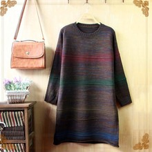 2016 women's all-match color rainbow knitting long sleeve head girls sweater