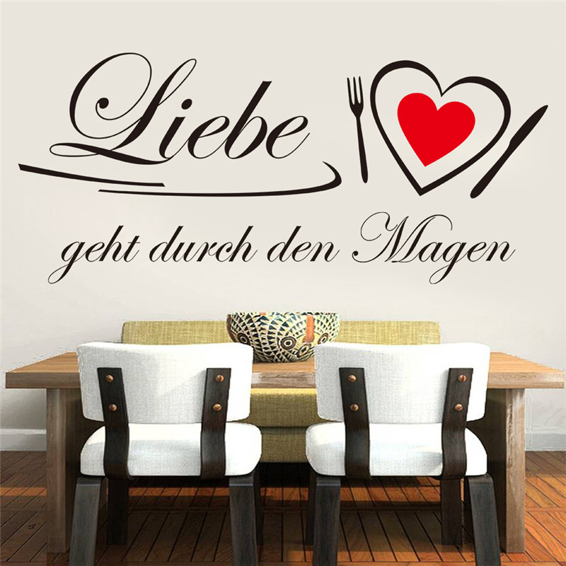Creative Home Decor Black Plane Wall Stickers German Quotes Liebe Heart Pattern For Living