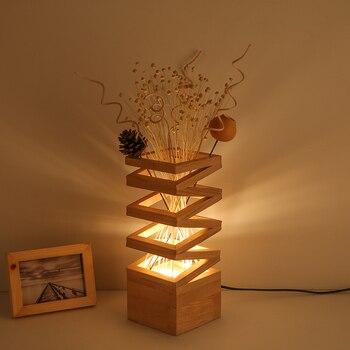 Yaratıcı Retro Amerikan Ahşap Masa Lambaları Yatak Odası Başucu Işık Sanat Okuma Lambası Dekoratif Işıklar Masa Lambası Led 220 V