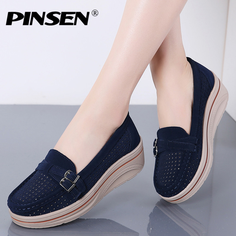 PINSEN 2019 Fashion Summer Flat Platform Women Shoes Genuine   Leather   Slip-on Loafers Flat Shoes Woman Moccains Creepers