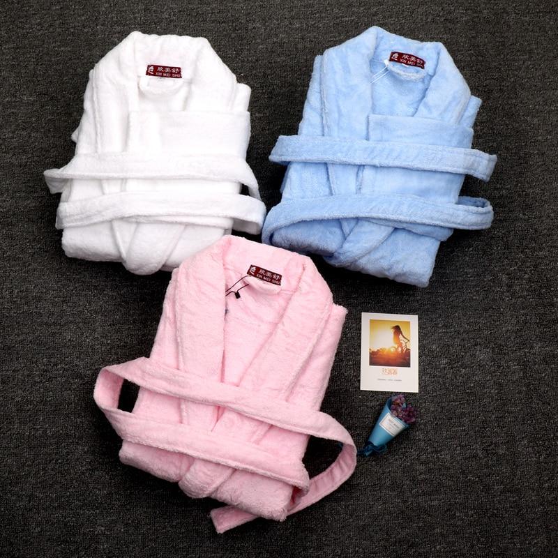 Autumn Winter Bathrobes Women Men cotton Lady's Long warm Sleeve Female Thick Sleepwear Homewear pijamas thicken lovers winter