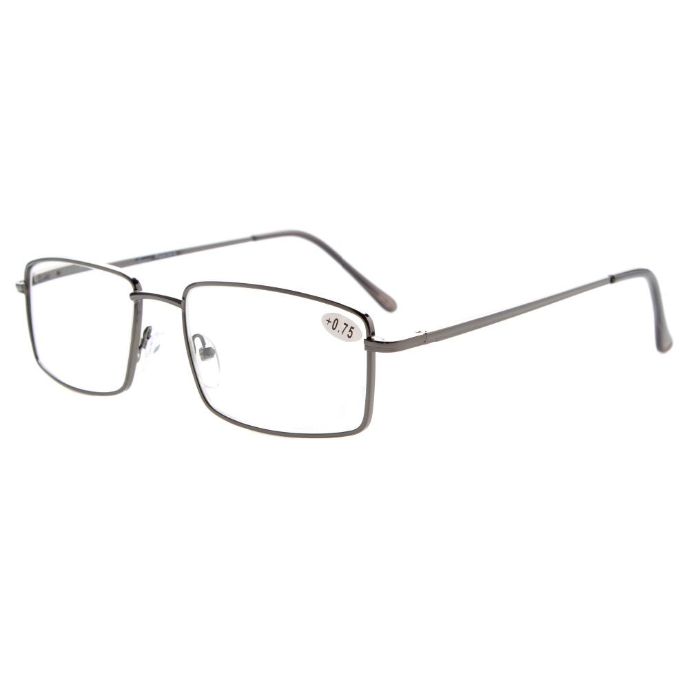 R15023 Eyekepper Readers Rectangular Spring Temple Lentes de lectura de metal grandes + 0.5 / 0.75 / 1 / 1.25 / 1.5 / 1.75 / 2 / 2.25 / 2.5 / 2.75 / 3 / 3.5 / 4