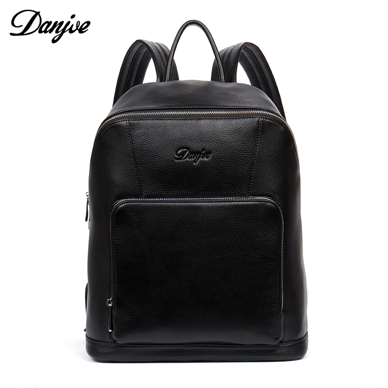 DANJUE Men Genuine Leather Backpack Black Real Cowhide School Laptop Bag With Double zipper Preppy Style Rucksack Classic Travel british style leather backpack school bag oil wax cowhide black women travel backpacks rucksack ladies double shoulder bags