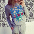 1 Set Bts Paris K*NO Spring  Kpop Women Fashion Tiger Head Printed Full Length Crewneck O Neck Two Piece Oversuits Set