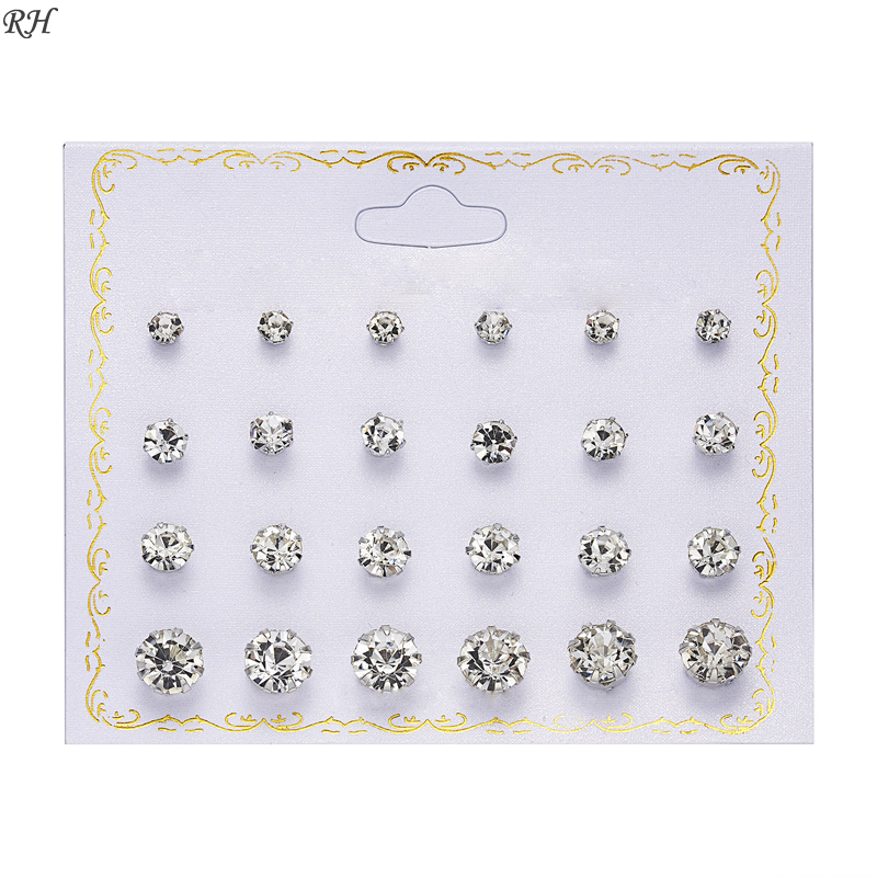 12 pairs/set Crystal Simulated Pearl Earrings Set Women Jewelry Accessories Piercing Ball Stud Earring kit Bijouteria brincos(China)