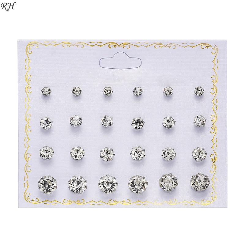 12 pairs/set Crystal Simulated Pearl Earrings Set Women Jewelry Accessories Piercing Ball Stud Earring kit Bijouteria brincos