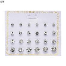 12 pares/set cristal simulado pérola brincos conjunto feminino jóias acessórios piercing bola parafuso prisioneiro brinco kit bijouteria brincos