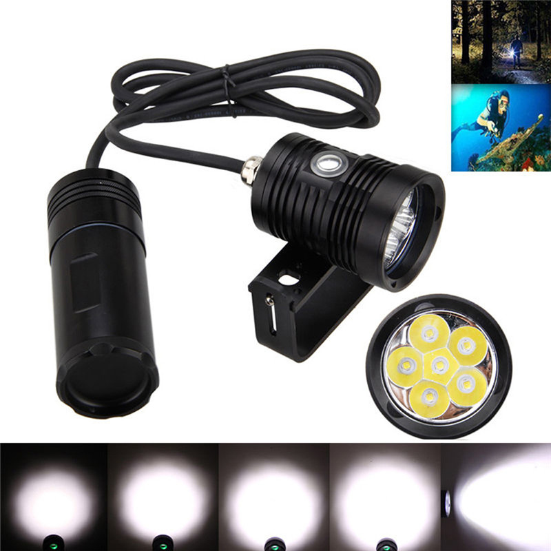 Underwater 150m 10000lm 6x L2 LED 3 * 18650 SCUBA Diving Flashlight Torch Light+Bracket Aluminum Alloy Bicycle Light boruit 2000lm xm l2 led diving flashlight underwater 150m scuba torch light aluminum waterproof camping hunting lantern light