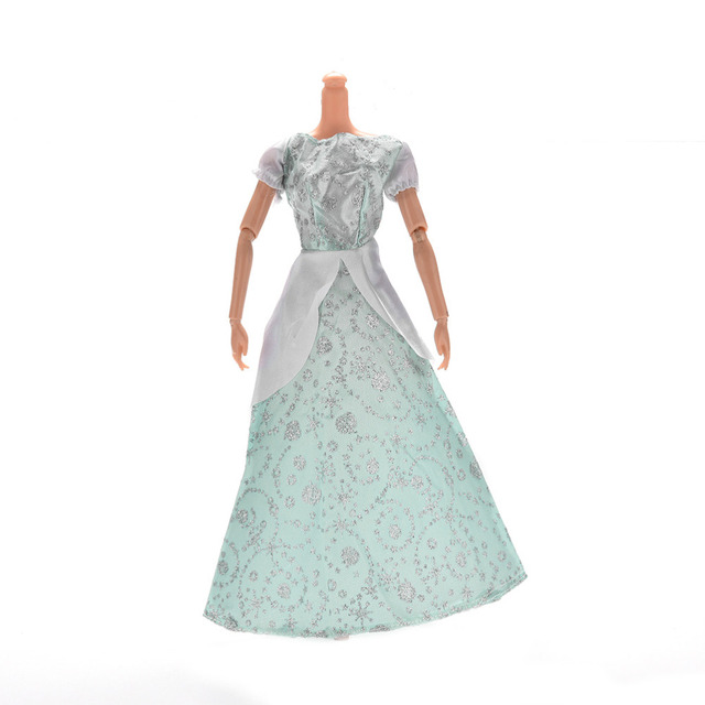 1 Pc Light Blue/Green Princess Wedding Gown Dress for Barbies ...