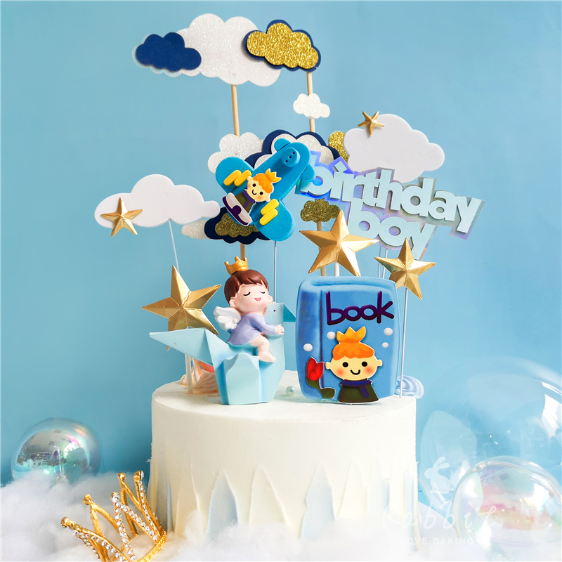 Bling Book Pilot Boy Decoration Happy Birthday Airplane Clouds for Children Kid Cake Toppers Baking Supplies Sweet Gifts