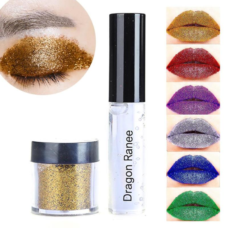Waterproof Shimmer Shine Eyeshadow Glitter Metallic Pigment Gold Silver Red Glitters Eye Shadow Powder Makeup with Glue Z3