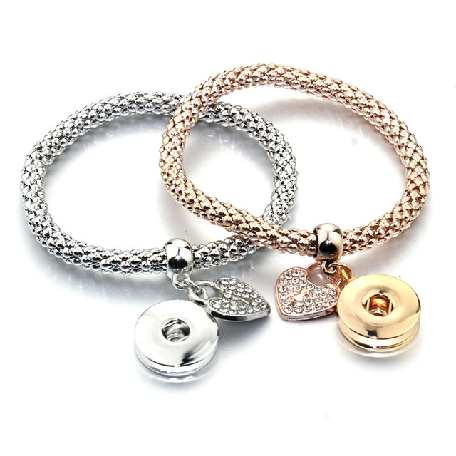 Boom Life New Gold Silver Snap Bracelet For Women Fit DIY 18mm Snap Jewelry Elastic Snap Buttons Bracelet Jewelry 6759