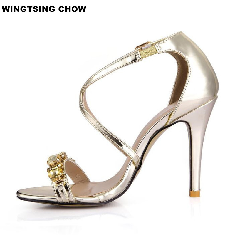 Rhinestone Dress Gold Heel Sandals Women Shoes Elegant High Heel Ladies Shoes Pumps 10cm Comfortable Size 43 fashion designer women high heel sandals mixed color strap cut out pumps heel elegant ladies weeding dress shoes real photo