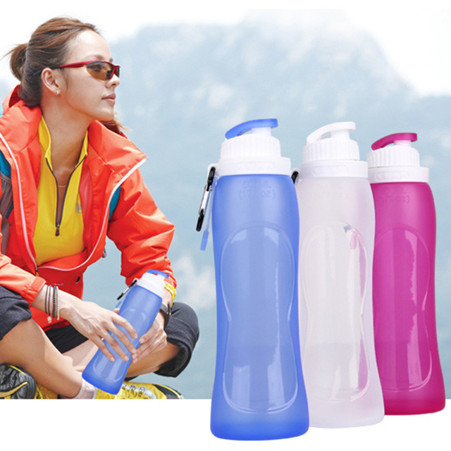 Camping Hiking folding water bottle 500ml Foldable Silicone Water Bottle For Travel Outdoor Sport
