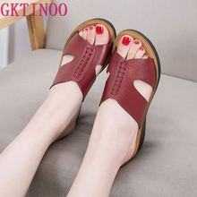 GKTINOO Fashion slides genuine leather slippers women shoes 2020 summer wedges outside ladies slippers large size 35 41
