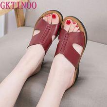GKTINOO pantoufles en cuir véritable pour femmes, chaussures à la mode, compensé extérieur, grandes tailles 35 41, été 2020