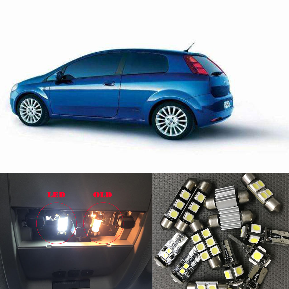 10pc X Perfect Canbus LED Bulb Interior Overhead Reading Dome Map Light Kit For 2000-2017 Fiat Punto Grande Punto 188 199