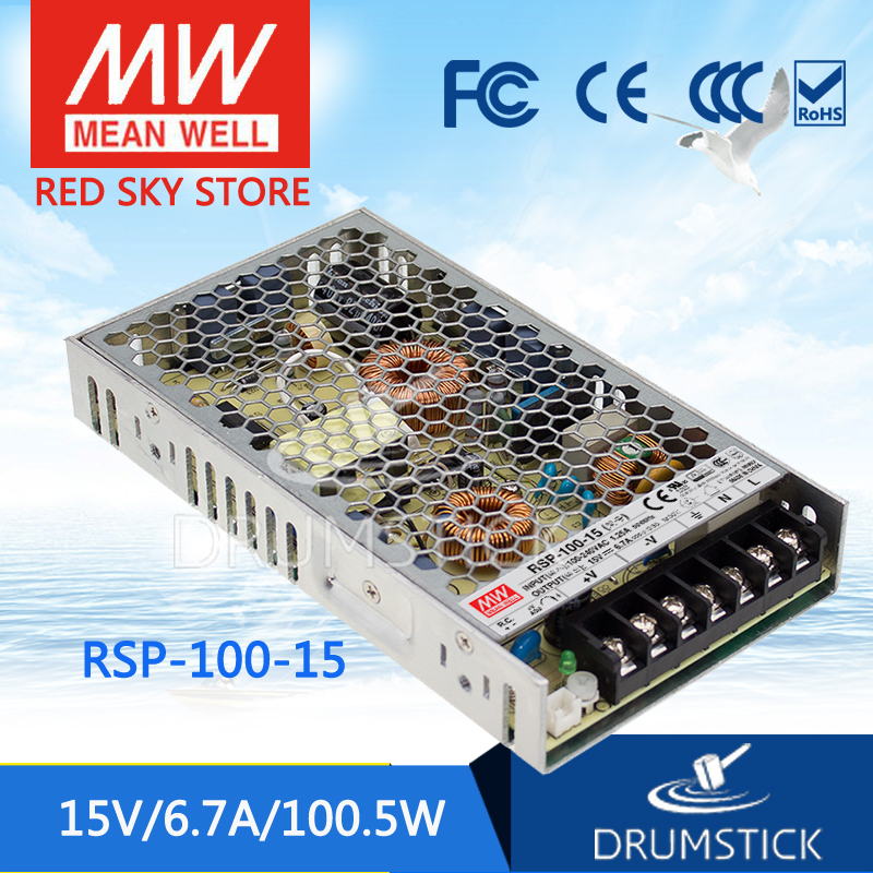 100% Original MEAN WELL RSP-100-15 15V 6.7A meanwell RSP-100 15V 100.5W Single Output with PFC Function Power Supply