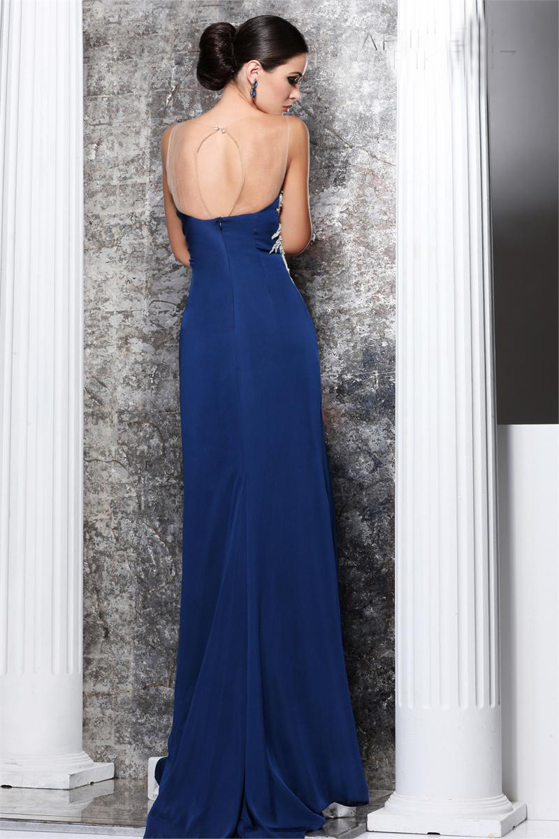New Arrive Tarik Ediz Dresses A Line Beaded Floor Length Thigh Split Blue  Keyhole Girls Chiffon Dress Evening Dress Crystals-in Evening Dresses from  ... aaad5fcc455c