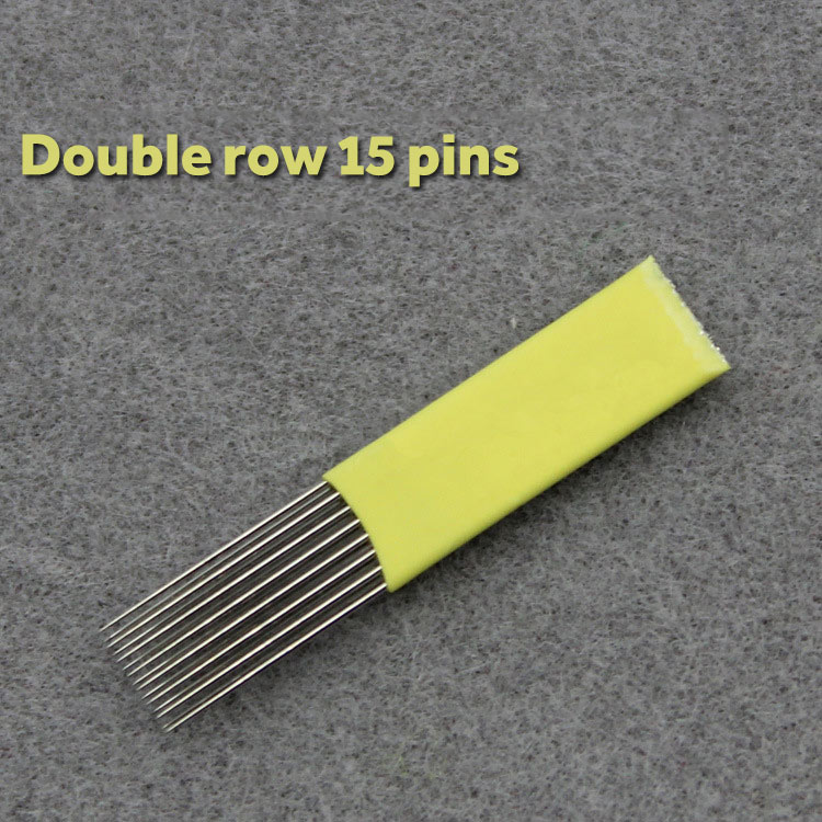100pcs 9 15 17 19 21Pin Microblading Shading Blades Tattoo Needles DOUBLE ROW Microblading Needles Flat Needle For Fog Brow in Tattoo Needles from Beauty Health