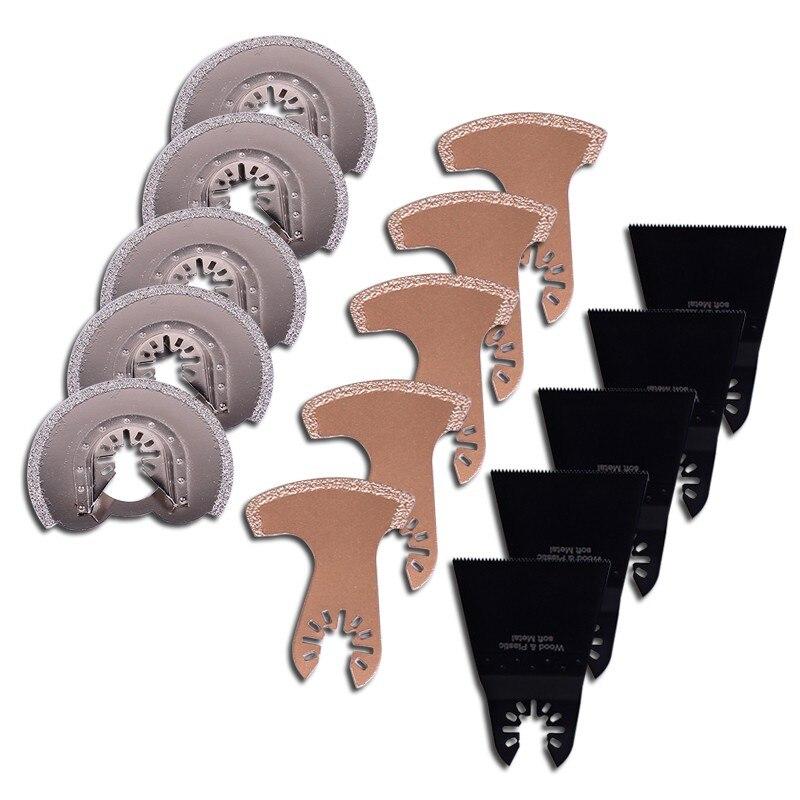 KINGGUARD 15 pièces/ensemble outil oscillant lames de scie accessoires adaptés pour outils électriques Multimaster comme Fein, Dremel etc taille mixte