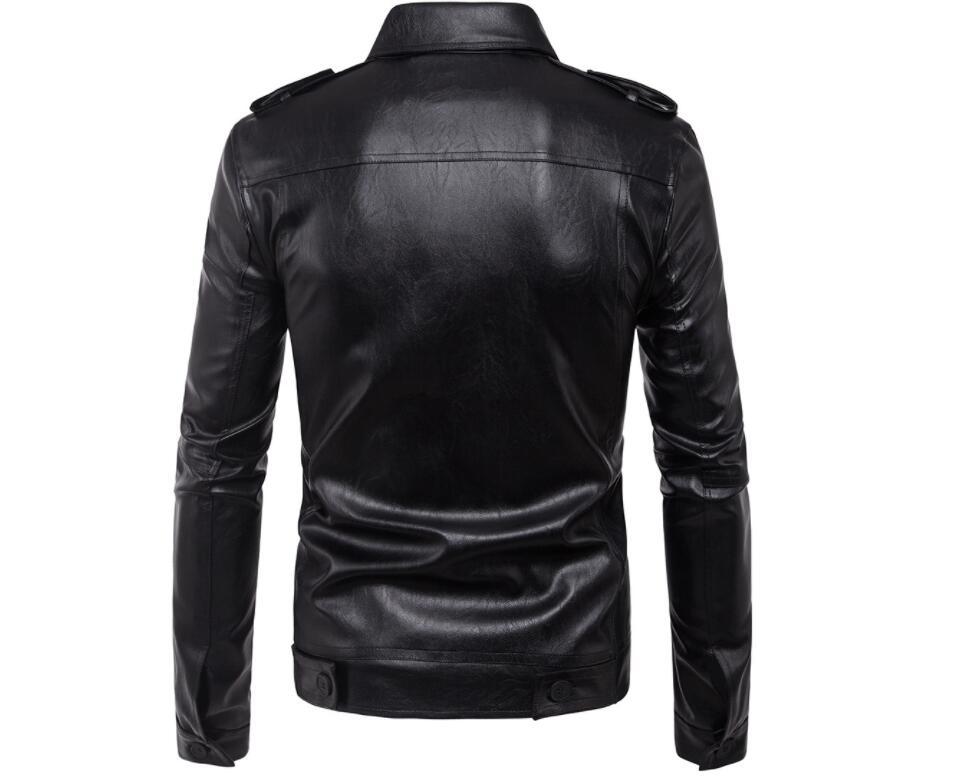 Heren lederen jassen slanke motorfiets jas mannen jassen kleding gepersonaliseerde jaqueta de couro stage street Korte hoofdstuk mode - 3