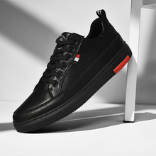 SUROM Leather Casual Shoes Men White Lace Up Fashion Classic Dress Black Flats Male Comfortable Breathable Lightweight