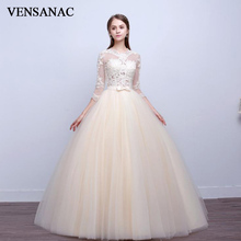VENSANAC 2018 Illusion V Neck Lace Appliques Ball Gown Wedding Dresses Bow Sash Plus Size Backless Bridal Gowns