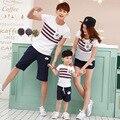Familia ropa de Verano conjunto traje de Manga Corta de la camiseta para el padre madre hijo hija family look fashion