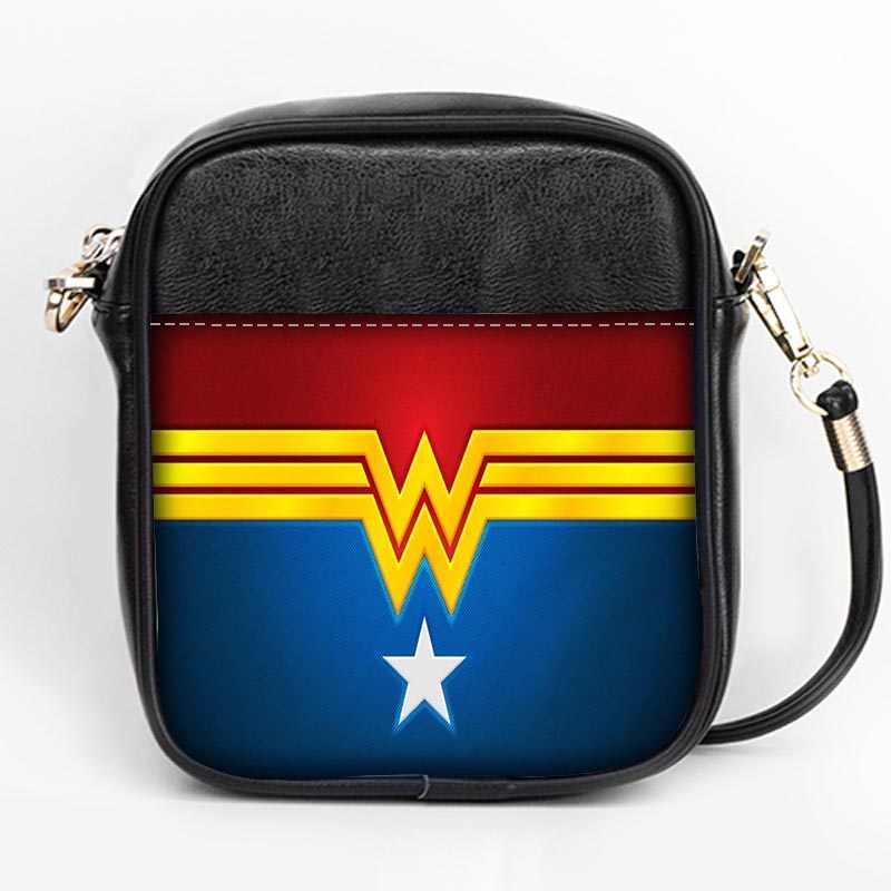 a37528cfe0a ... New fashion wonder woman logo Sling Bag Custom Women Sling Shoulder  Bags Leather Mini Girls Tote ...
