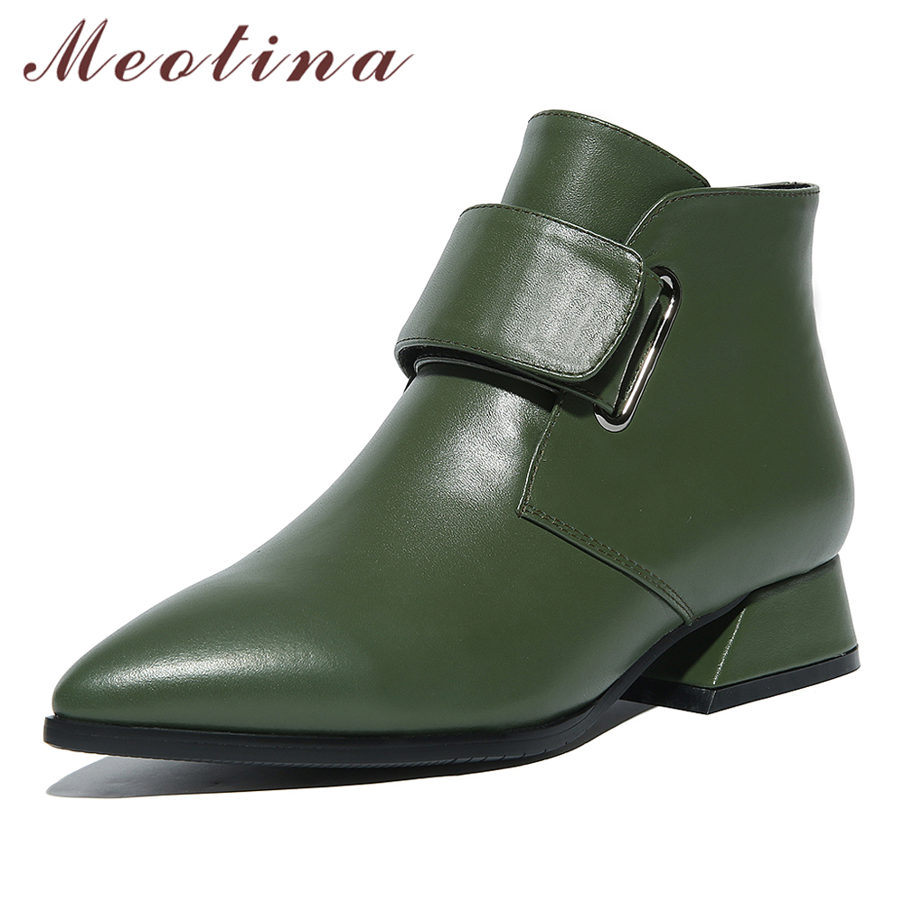 Meotina Natural Genuine Leather <font><b>Ankle</b></font> <font><b>Boots</b></font> Women <font><b>Boots</b></font> Winter <font><b>Block</b></font> <font><b>Heel</b></font> Short <font><b>Boots</b></font> Low <font><b>Heel</b></font> Real Leather Shoes Lady Green 42 image